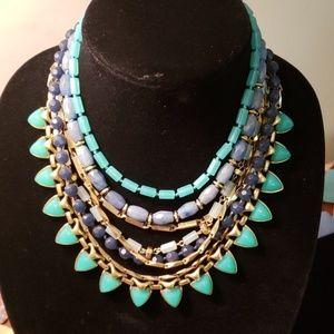7 strand glass bead and chain choker